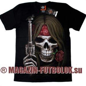 3-d футболка с черепом rose gun