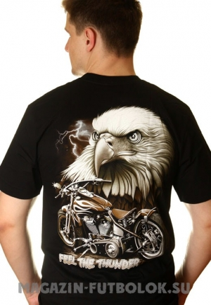 байкерская футболка feel the thunder