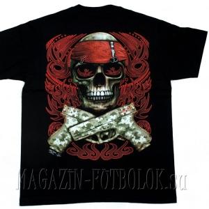 череп с пистолетами - 3д футболка