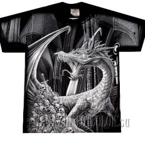 фэнтэзи футболка дракон с черепами