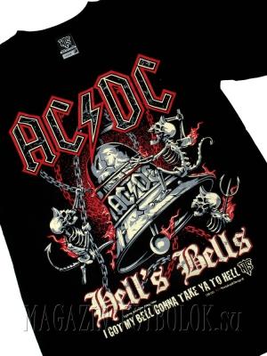 футболка ac/dc hells bells skeleton