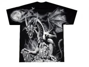 футболка дракон с черепами