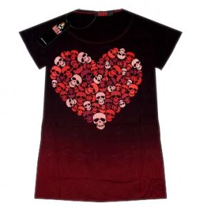 футболка женская skulls in heart
