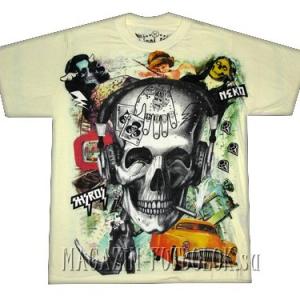 футболка с прикольным принтом с черепом