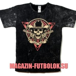 футболка с в стиле рок с черепом