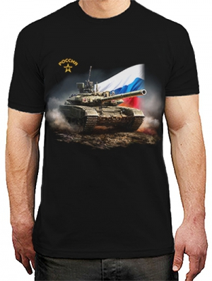 футболка с танком с флагом россии