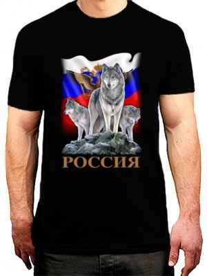 футболка с флагом россии и волком