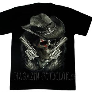 футболка skull revolvers old school