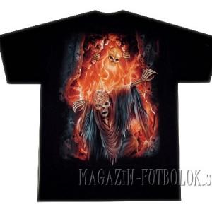 футболки со скелетом в огне