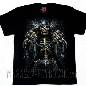 скелет с цепями - 3д футболка