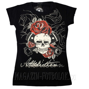 skull roses pistons — женская футболка