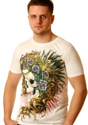 футболка с черепом и розами