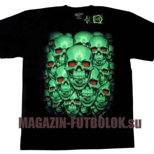 футболка светящиеся в темноте skulls red eyes