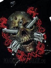 3-д футболка череп револьвер пирсинг