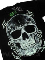 светящаяся в темноте футболка - 3d череп
