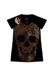 анималистичная футболка женская skull leopard