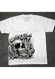 белая футболка череп в стиле тату