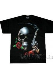 футболка череп с пушкой и розой
