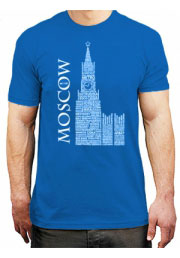футболка moscow russian words blue