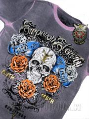 футболка с розами 3 roses-skull