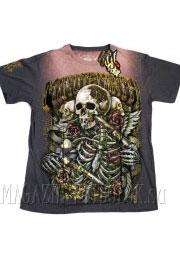 футболка skull and 2 guns