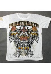 футболка white skulls roses cross