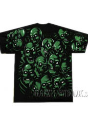 футболка зеленые черепа full print