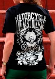 Live Fast Die Hard — мотофутболка женская