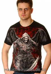 футболка с ангелом смерти с косой