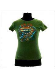 Зеленая женская винтажная футболка Pepsi