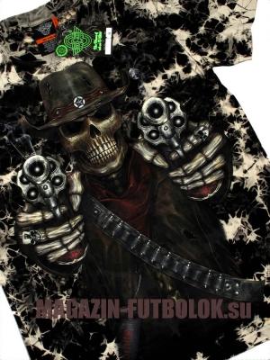 3 д футболка с черепом и револьверами