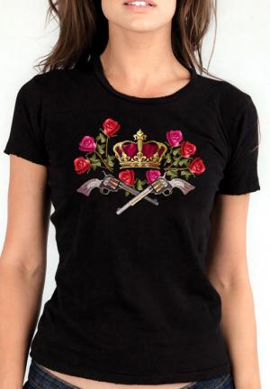 женская футболка crown rose revolver embroidery girls