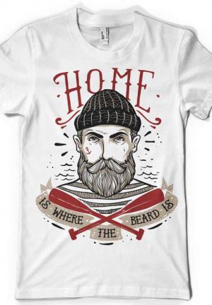 футболка home is where the beard is