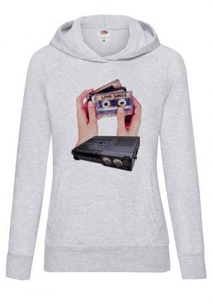 худи love cassete hands white hoodie girls