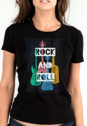 женская футболка rock n roll instrument girl