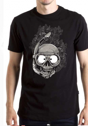 футболка skull diving mask