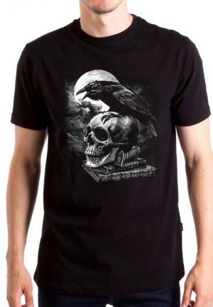 футболка skull raven book