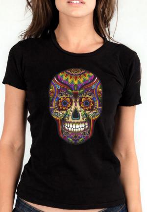 футболка skull color girls black
