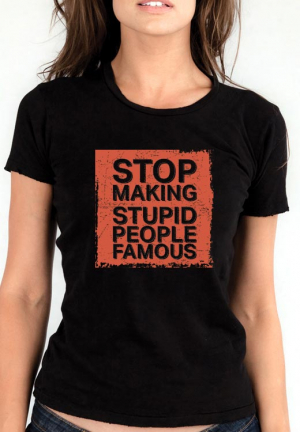 женская футболка stop making stupid people famous red