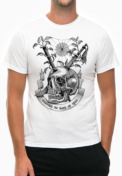 футболка welcome land death white