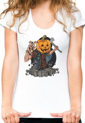 женская футболка zombie with pumpkin