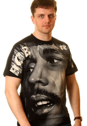футболка bob marley черно-белая