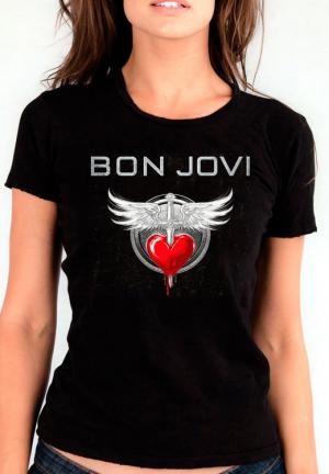 женская футболка bon jovi logo logo girls