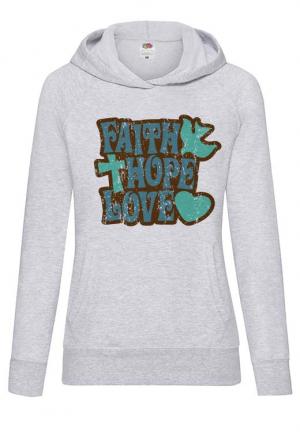 худи faith hope love girls hoodie grey