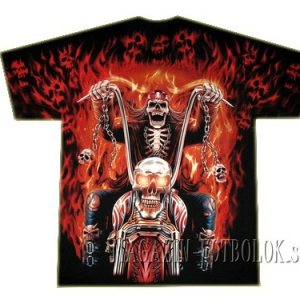 футболка байкерская skeleton fire full print