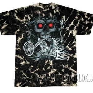 футболка байкерская skull&bike tie-dye