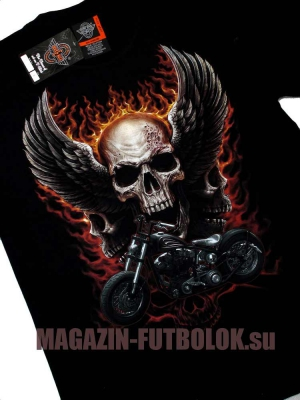 футболка байкерская skull wings motocycle