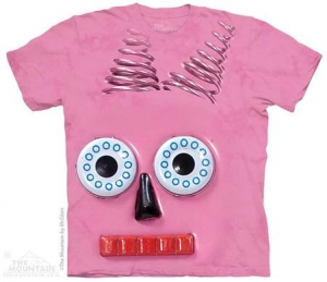 футболка big face pink robot