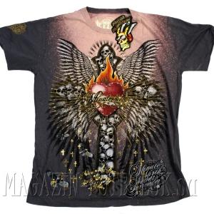 футболка cердце flame heart skull cross