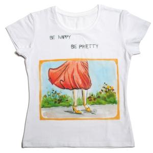 футболка для девушек be happy
